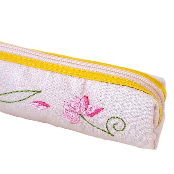 ベトナム  蓮の花(ロータス)刺繍  ペンケース(細 B)【画像4】