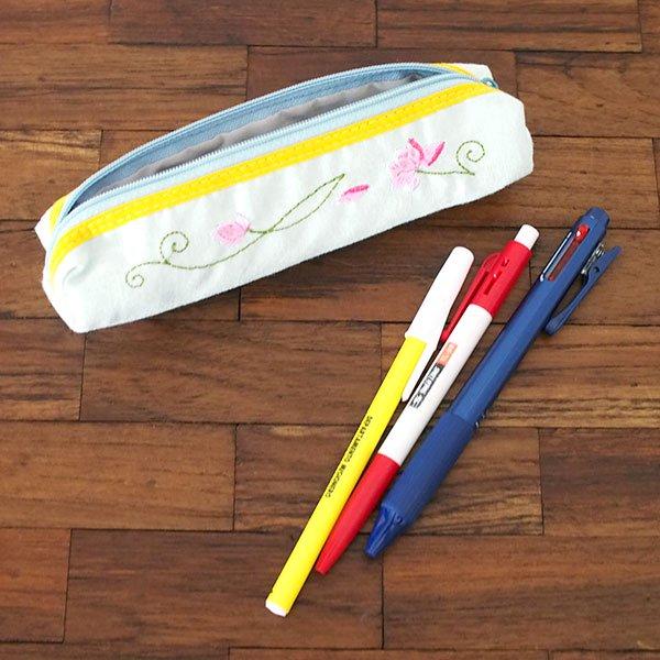 ベトナム  蓮の花(ロータス)刺繍  ペンケース(細 B)【画像6】