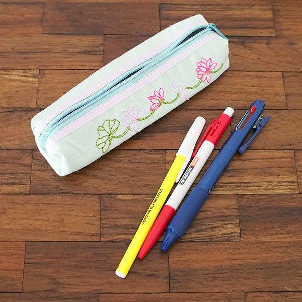 ベトナム  蓮の花(ロータス)刺繍  ペンケース(細 C)【画像6】