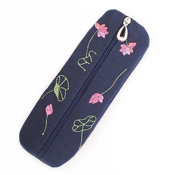 ベトナム  蓮の花(ロータス)刺繍  ペンケース(2色)【画像2】