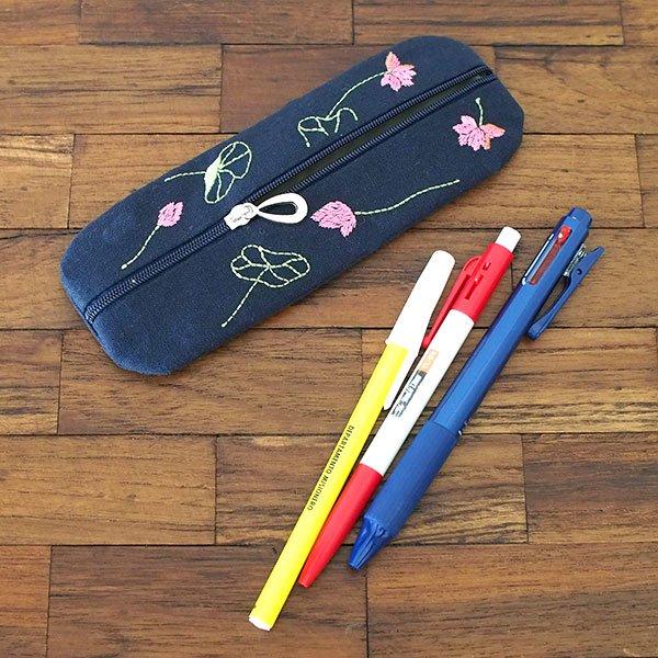 ベトナム  蓮の花(ロータス)刺繍  ペンケース(2色)【画像6】