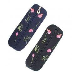 ベトナム  蓮の花(ロータス)刺繍  ペンケース(2色)