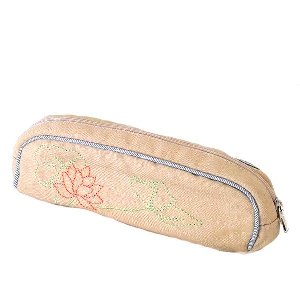 ベトナム  蓮の花(ロータス)刺繍  ペンケース(チャック付き 2色)【画像2】