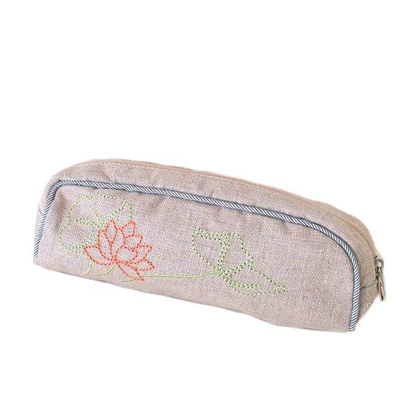 ベトナム  蓮の花(ロータス)刺繍  ペンケース(チャック付き 2色)【画像3】