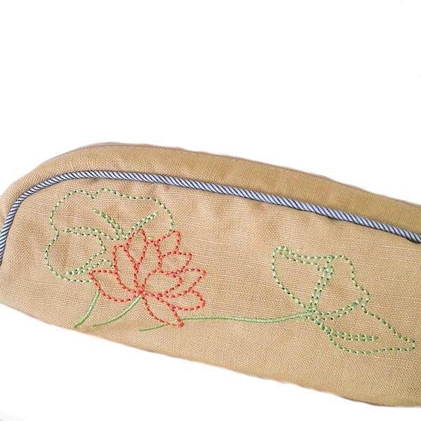 ベトナム  蓮の花(ロータス)刺繍  ペンケース(チャック付き 2色)【画像4】