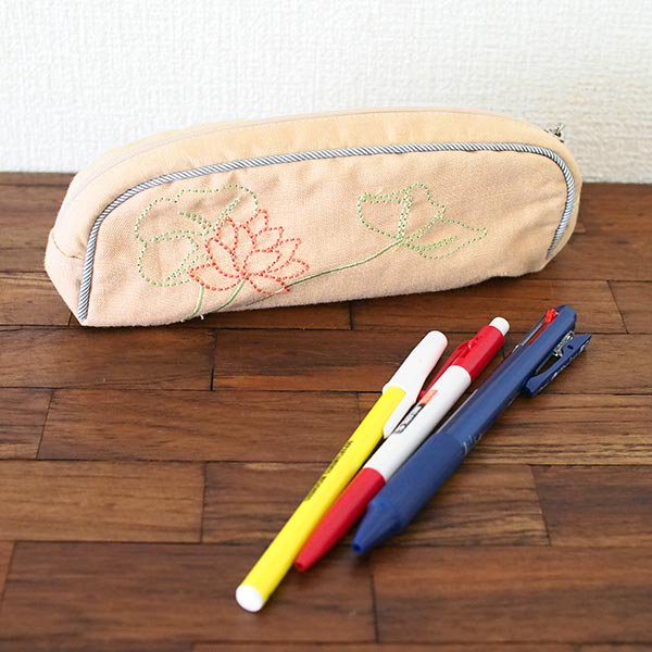 ベトナム  蓮の花(ロータス)刺繍  ペンケース(チャック付き 2色)【画像6】