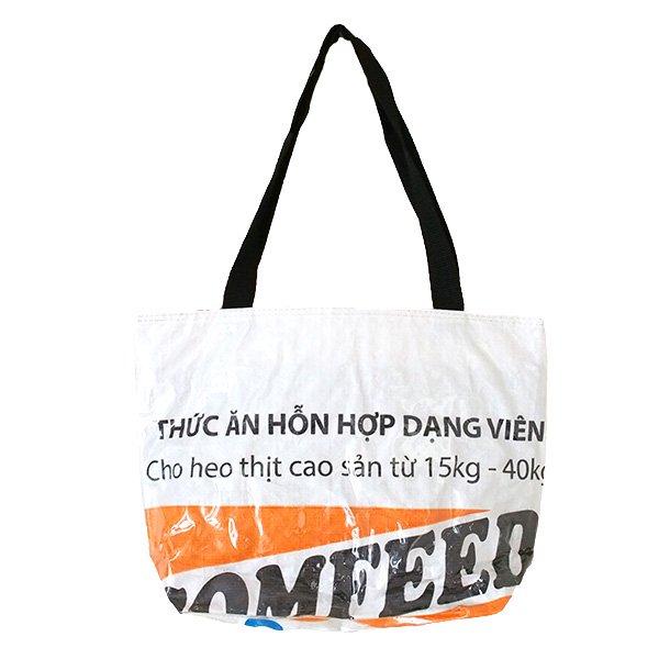 ベトナム 飼料袋 リメイク バッグ(肩掛けOK マチ付き ブタ オレンジ )【画像2】