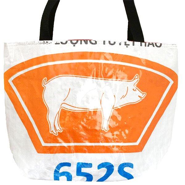 ベトナム 飼料袋 リメイク バッグ(肩掛けOK マチ付き ブタ オレンジ )【画像3】
