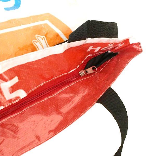 ベトナム 飼料袋 リメイク バッグ(肩掛けOK マチ付き ブタ オレンジ )【画像5】