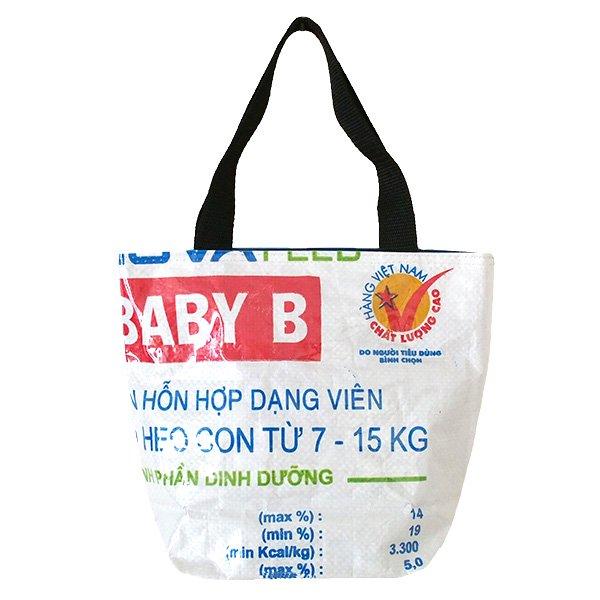 ベトナム 飼料袋 リメイク トートバッグ(マチ付き ウシ ブルー 小)【画像2】