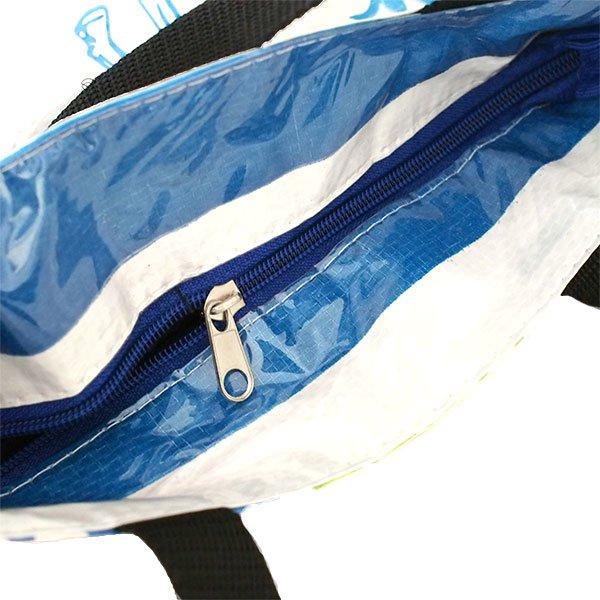 ベトナム 飼料袋 リメイク トートバッグ(マチ付き ウシ ブルー 小)【画像4】