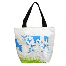 ベトナム 飼料袋 リメイク トートバッグ(マチ付き ウシ ブルー 小)