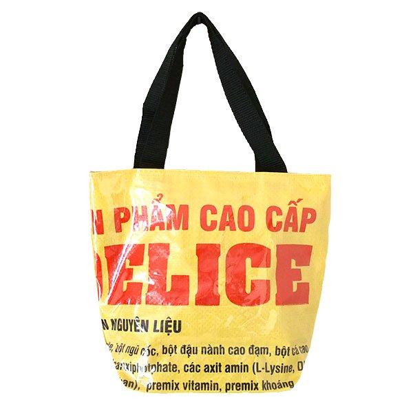 ベトナム 飼料袋 リメイク トートバッグ(マチ付き コウノトリ 小)【画像2】