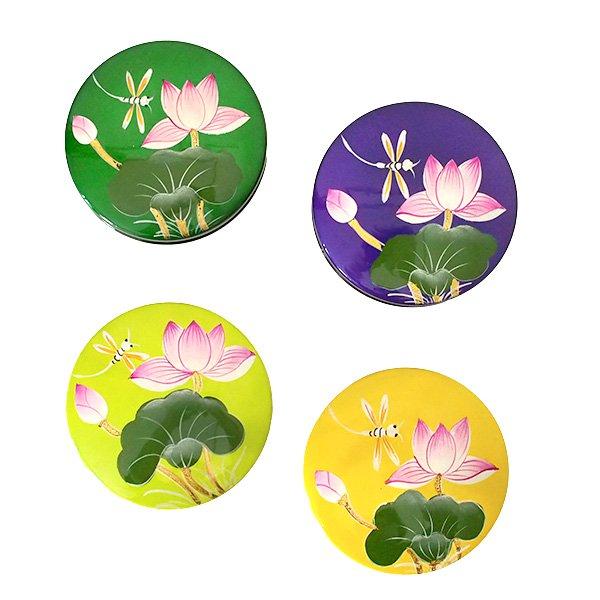 ベトナム 漆 蓮の花 小物入れ(丸型 4色)