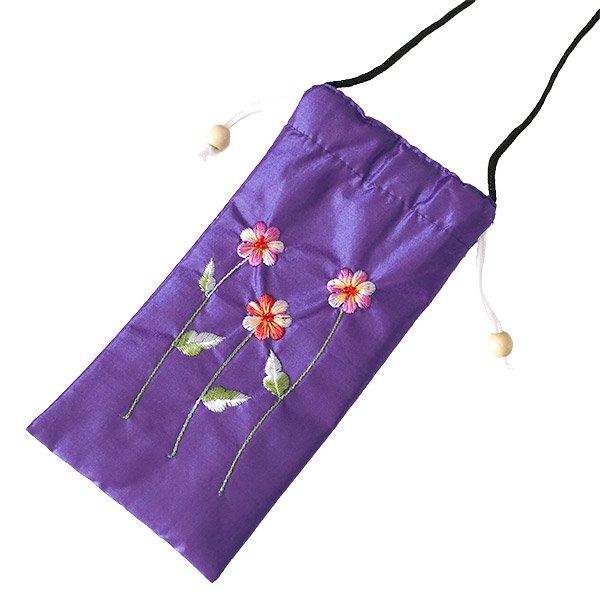 ベトナム 花刺繍 メガネケース A(紐付き 斜めがけOK)【画像5】