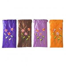 ベトナム刺繍ポーチ・巾着 ベトナム 花刺繍 メガネケース A(紐付き)