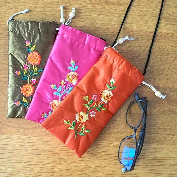 ベトナム刺繍 シルクメガネケース