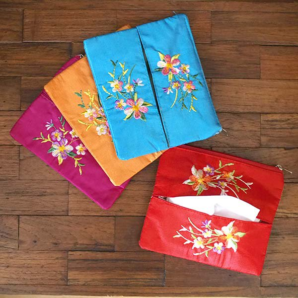 ベトナム  花 刺繍 ポーチ(ティッシュケース付き 4色)【画像6】