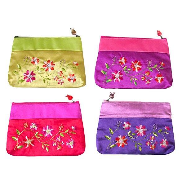 ベトナム 花 刺繍 ポーチ(マチ付き A)