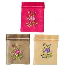 ベトナム刺繍ポーチ・巾着 ベトナム 刺繍 巾着(オーガンジー 花 F)