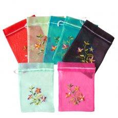 ベトナム刺繍ポーチ・巾着 ベトナム 刺繍 巾着(オーガンジー 花 H)