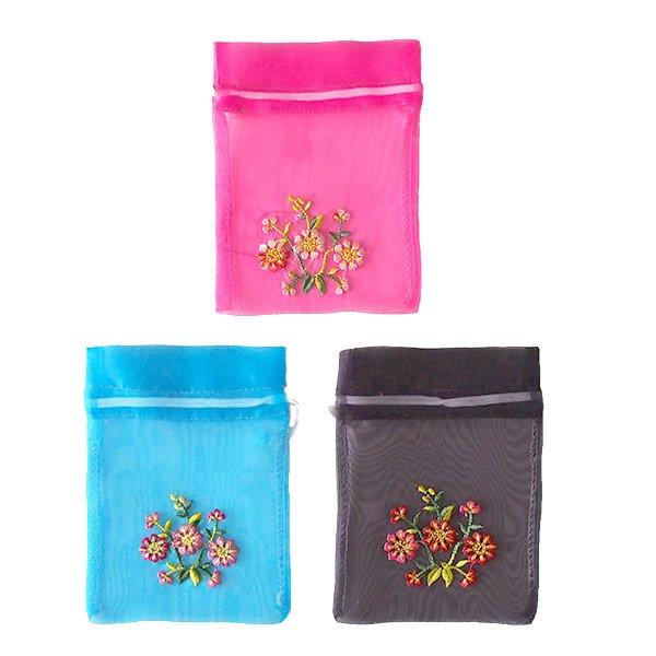 ベトナム 刺繍 巾着(オーガンジー 花 中サイズ A)