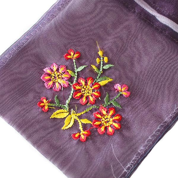 ベトナム 刺繍 巾着(オーガンジー 花 中サイズ A)【画像2】