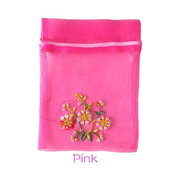 ベトナム 刺繍 巾着(オーガンジー 花 中サイズ A)【画像3】