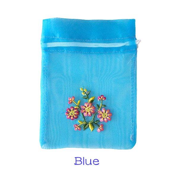 ベトナム 刺繍 巾着(オーガンジー 花 中サイズ A)【画像4】