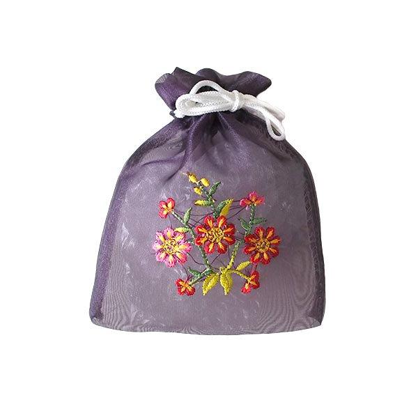 ベトナム 刺繍 巾着(オーガンジー 花 中サイズ A)【画像6】