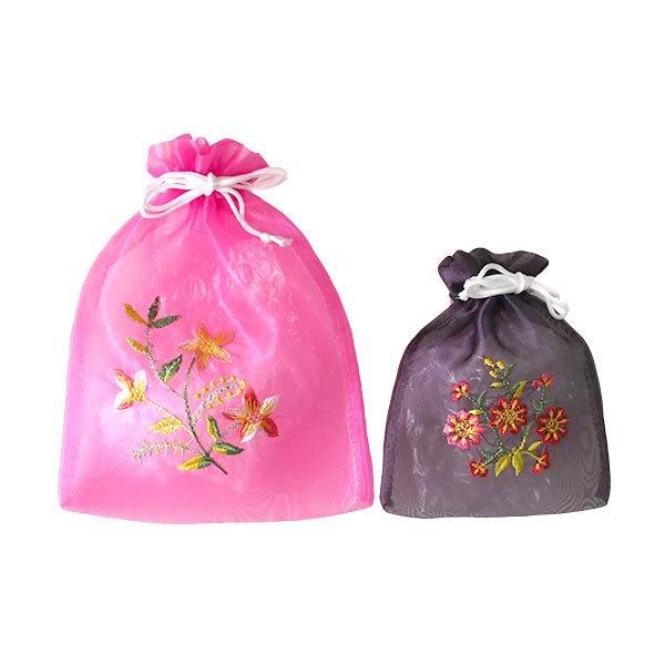 ベトナム 刺繍 巾着(オーガンジー 花 中サイズ A)【画像7】