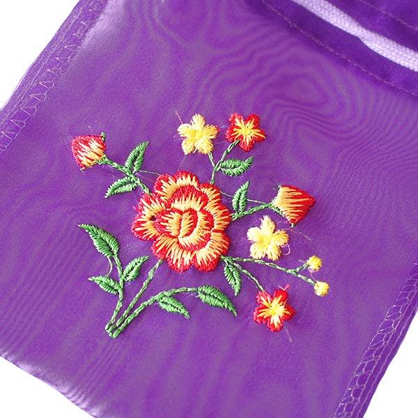 ベトナム 刺繍 巾着(オーガンジー 花 中サイズ B)【画像2】