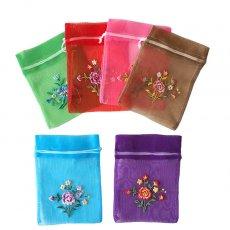 ベトナム刺繍ポーチ・巾着 ベトナム 刺繍 巾着(オーガンジー 花 中サイズ B)