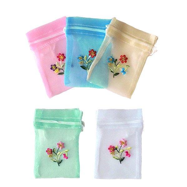ベトナム 刺繍 巾着(オーガンジー 花 小サイズ A)