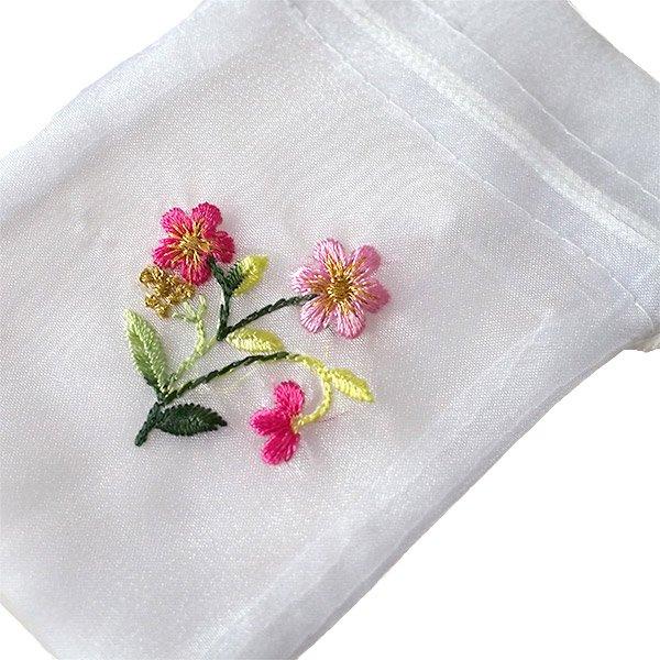 ベトナム 刺繍 巾着(オーガンジー 花 小サイズ A)【画像2】