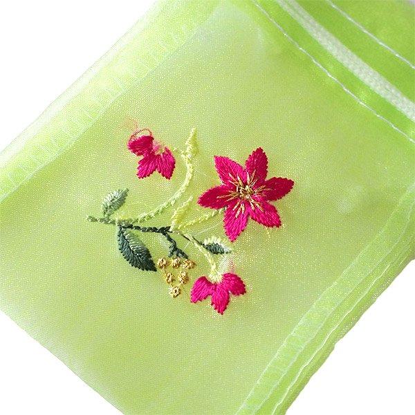 ベトナム 刺繍 巾着(オーガンジー 花 小サイズ B)【画像2】