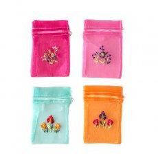 ベトナム刺繍ポーチ・巾着 ベトナム 刺繍 巾着(オーガンジー 花 小サイズ C)
