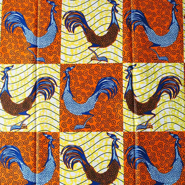 アフリカン プリント布 パーニュ 115×90 カットオフ(ニワトリ)