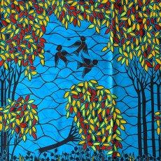 トリ (鳥) 雑貨 アフリカン プリント布 パーニュ 115×90 カットオフ(小鳥)