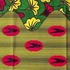 アフリカン プリント布 パーニュ 115×90 カットオフ(ツバメと葉っぱ)