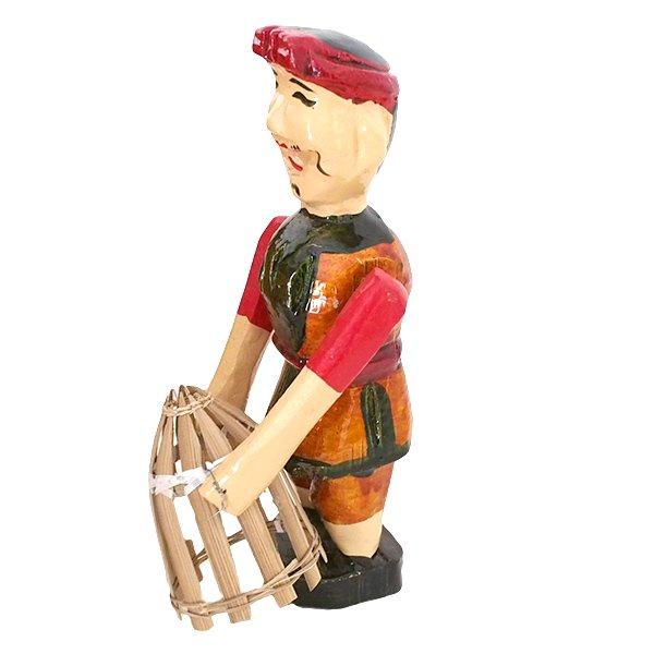 ベトナム 水上人形劇 木の人形(カゴを持つ人 B  小)【画像2】
