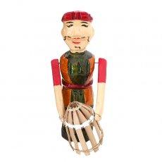 ベトナム 水上人形劇 木の人形(カゴを持つ人 B  小)