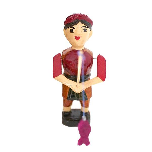 ベトナム 水上人形劇 木の人形(釣りをする人 B  小)