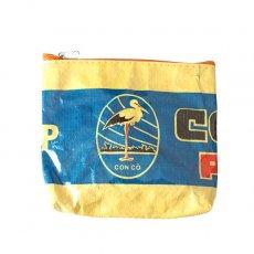 トリ (鳥) 雑貨 ベトナム 飼料袋 リメイク ポーチ(コウノトリ イエロー)