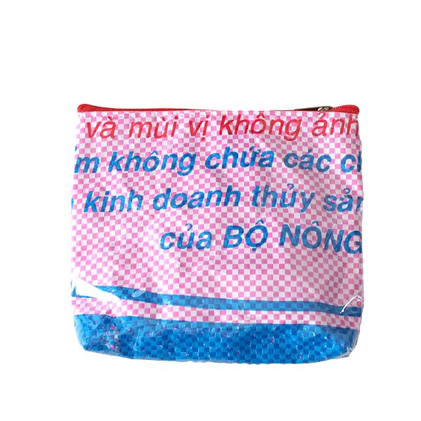 ベトナム 飼料袋 リメイク ポーチ(魚  ピンク)【画像3】