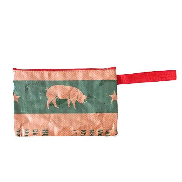 ベトナム 飼料袋 リメイク ポーチ(長方形 ブタ )