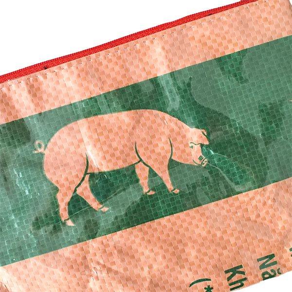 ベトナム 飼料袋 リメイク ポーチ(長方形 ブタ )【画像2】