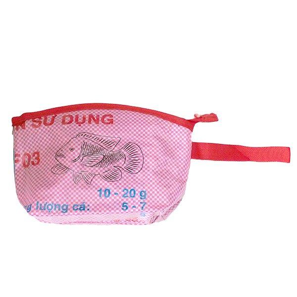 ベトナム 飼料袋 リメイク ポーチ(マチ付き 魚)