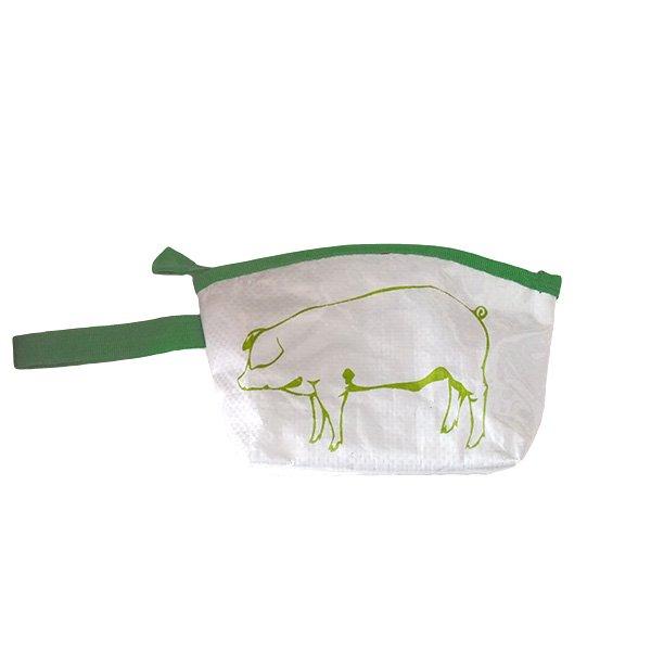 ベトナム 飼料袋 リメイク ポーチ(マチ付き ブタ)