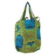 バッグ 【NEW サイズ】マリ 足踏みミシンで仕立てた パーニュ 巾着 エコバッグ(鳥かご グリーン)